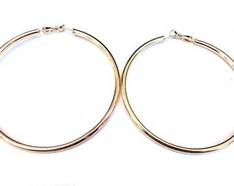 2.75 INCH Hoop Earrings Gold Plated Round Circle Hoop Earrings Medium Cast Tube Hoop