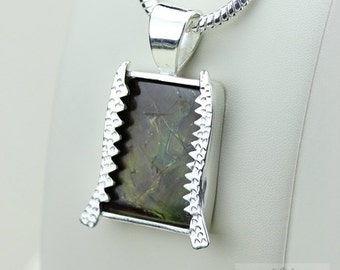 Thick Setting! GENUINE Canadian AMMOLITE 925 Solid Sterling Silver Pendant + 4mm Snake Chain & FREE Worldwide Shipping P1556