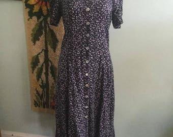 Vintage 90s grunge dark blue floral boho dress size medium