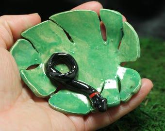 Ring Neck Snake trinket or ring dish handmade pottery