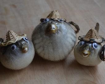 Beach Hat Blowfish Ornament