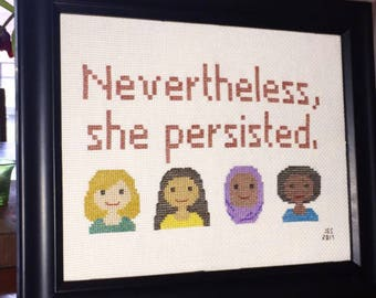Nevertheless, She Persisted Cross Stitch Pattern PDF Download
