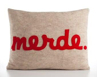 """Decorative Pillow, Throw Pillow, """"Merde"""" pillow, 14x18 inch"""