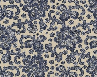 211671 beige fabric with navy blue Jacobean flower design by Timeless Treasures