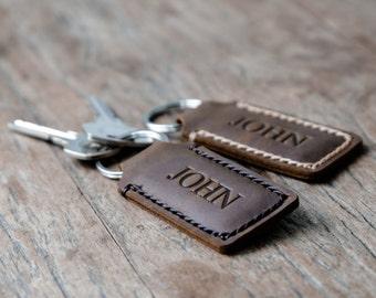 Personalized Custom Leather Keychain•Hand Stamped•Hand Stitched Personalized Keychain KEY