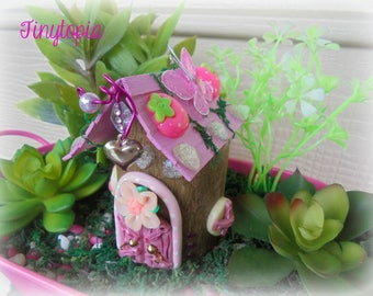 Pink Strawberry Fairy House