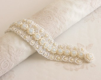 Bridal Pearl and Crystal Bracelet in White Opal and Cream with Beadwoven Button Clasp. Beaded Wedding / Evening Bracelet S242