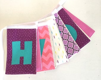 Purple Pink and Aqua Fabric Birthday Banner Party decoration- Modern Heirloom Quality Banner