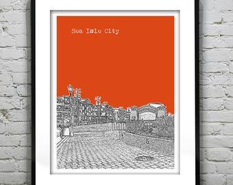 20% OFF Memorial Day Sale - Sea Isle City New Jersey Shore Poster Print Art NJ Skyline Jersey Shore Version 5