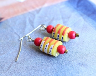 Dainty Krobo bead earrings, Fair trade bead, Afrocentric Drop earring, Yellow and Orange bead earrings