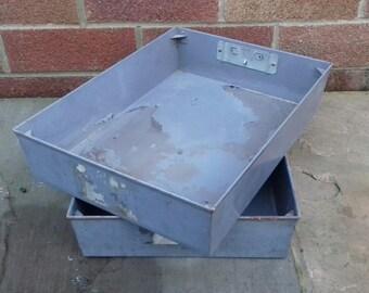 Vintage Industrial Metal Stacking Storage Boxes Trays