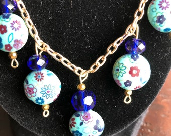 Gold and blue floral beaded  necklace