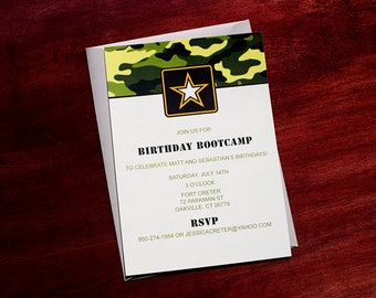 Army Birthday Party - camoflauge invitation