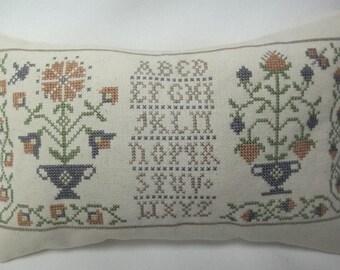 Primitive Sampler, Cross Stitch Mini Pillow, Colonial Flowers, Homespun Elegance,  MADE TO ORDER