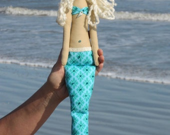 Mermaid doll turquoise fabric doll - softie plush cloth doll art doll lovely rag doll blonde Mermaid - gift for girl and mom