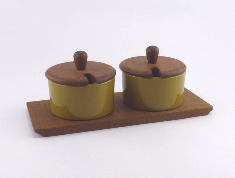 Image of Plastic Condiment Pots on Wooden Tray Denmark Midcentury Style Preserve Pots Vintage Kitchen Breakfast Serving Set Housewarming Gift