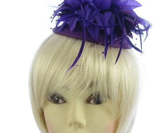 Deep Purple fascinator hatinator , sinamay comb with elastic to hold the style , weddings, races, prom