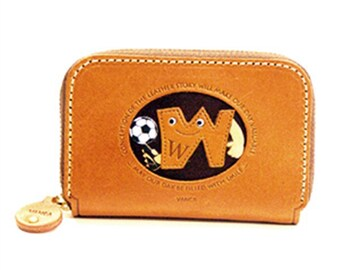 Soccer W Handmade 3D Leather Business Card Case *VANCA*Made in Japan#26182