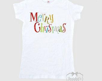 "Women's Christmas Shirt - Retro Christmas Shirt - ""Merry Christmas""  - Mid Century Shirt Ladies - T Shirt Adult Size  S M L Xl 2Xl"