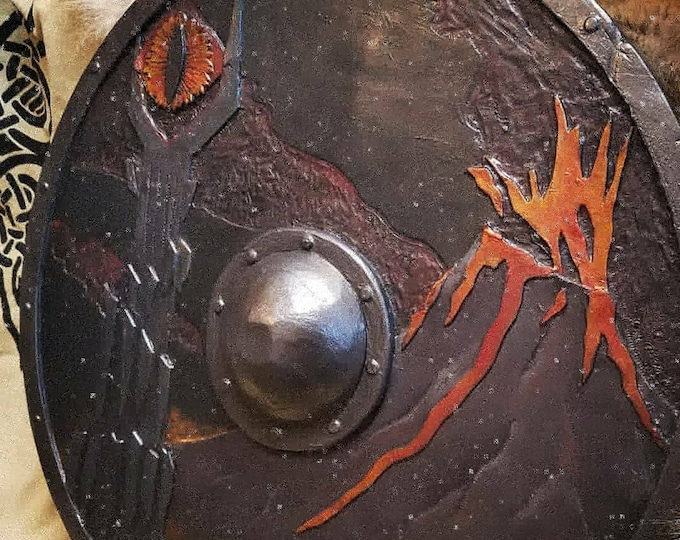 """Lord of the Rings Sauron Morder Shield // AVAILABLE NOW//sculpted  center grip punch// Plasti dip, 28"""", full-contact"""