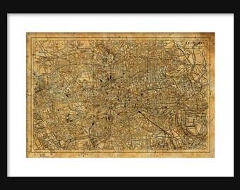 London Map- Street Map Vintage Poster Print grunge