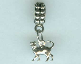 Sterling Silver CAT Bead Charm for All Name Brand Add a Bead Charm Bracelets - Mini