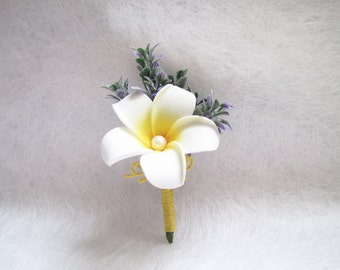 4 Pieces Plumeria Corsage / Boutonnieres, Artificial Plumeria Boutonnieres, White Wedding Corsage, Wedding Boutonniere, Wedding Floral