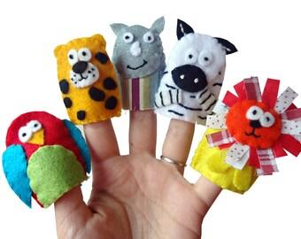 Jungle Animal Finger Puppets / Stocking Filler /  / Children's Animal Felt puppet - 5