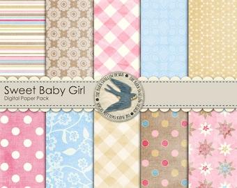 "Digital Scrapbook Paper Pack - Sweet Baby Girl set 1 - 10 digital papers 12"" x 12"""