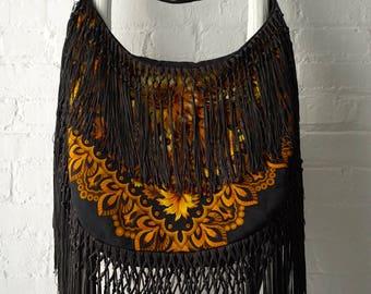 One-of-a-kind bohemian fringe bag