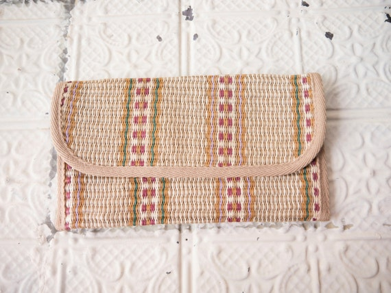 1970s striped straw clutch // made in Italy // vintage purse