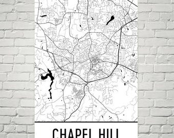 Chapel Hill Map, Chapel Hill Art, Chapel Hill Print, Chapel Hill NC Art Poster, Chapel Hill Wall Art, Map of Chapel Hill, UNC Gifts