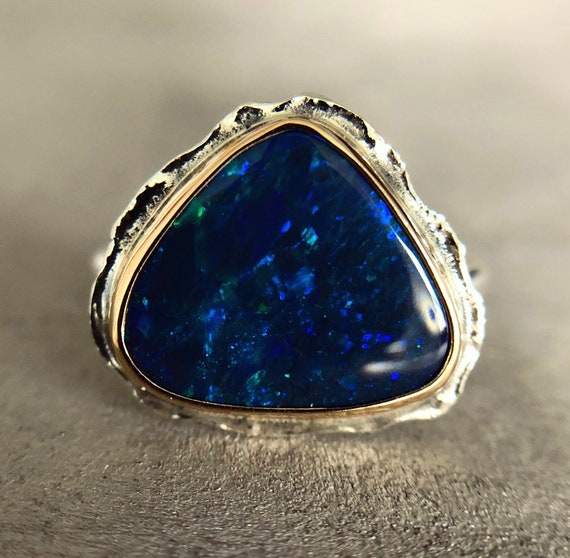 """14K yellow gold & Sterling silver """"Antonia"""" ring with Australian black opal SZ 7.5"""
