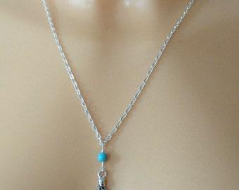 Yoga gemstone necklace, Silver yoga necklace, Silver yoga necklace, Yoga pose charm necklace, Meditation jewellery