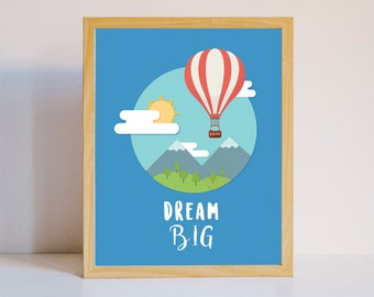 Dream Big nursery art print kids room blue decor prints painting painted baby 8 x 10 hot ballon air sky art prints instant download