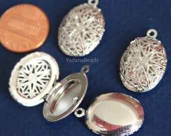 Bulk 20 pcs of Silver plated filigree Oval Locket Pendant 24x16mm
