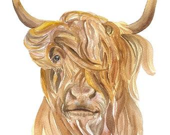 Highland Cow 8 x 10 (8.5 x 11) Watercolor Painting Giclee Print Fine Art Print Farm House