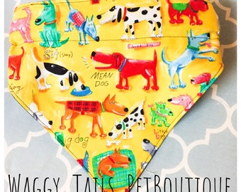 """Personalized Custom Boutique Reversible Pet Bandana """"All Kinds of Dogs"""" Dogs Cats Ferrets sm to XL"""