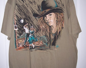 Cow Girl Tee Shirt, Country Dancing, Olive Green, Rodeo Girl, Size XL, SALE by Nana's Vintage Shop on Etsy