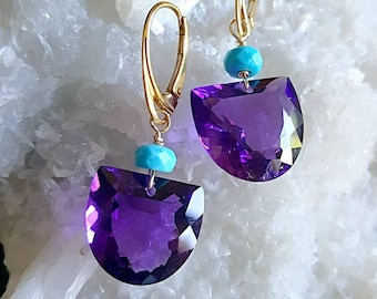 African Amethyst with Sleeping Beauty Turquoise Modern Minimal Earrings February Birthstone Gift for Her