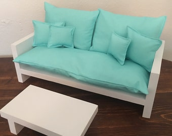 """Sofa and coffee table for 18"""" dolls fits the American Girl dolls"""