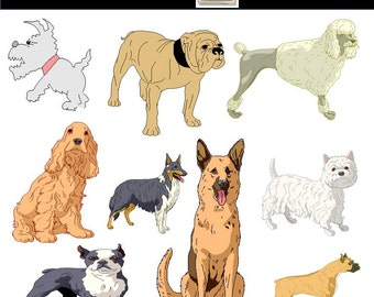 Dog Clip art, Cute Dog Clipart, PNG Images, For Personal and Commercial Use, INSTANT DOWNLOAD