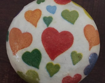 2 inch decoupaged heart cabinet knob drawer pull