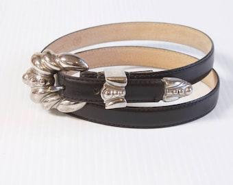 Vintage Women's Belt - Black skinny Leather Belt  size large