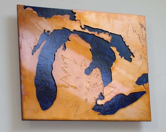 Great Lakes Michigan blue & copper art map, 8x10 inches