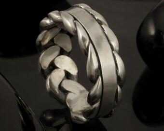 Men's Ring - Unique Men's Band - Ring for Men - Men's Jewelry - Men's Classic Ring - Man Silver Promise Ring - Rustic Men's Ring -RS-1146