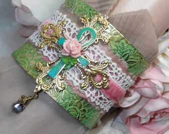 Etched Floral Brass, Greens, Sari Silk, Lace, Velvet, Maltese Cross, Ankh and Rose Cuff with Czech Vitrail Briolette Dangle