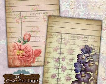 Library Cards, Collage Sheet, Printable, Vintage Roses, Digital Downaload, Printable Tags, Digital Sheet, Vintage Library Card