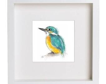 Framed kingfisher print // kingfisher print // kingfisher painting // kingfisher gift // kingfisher art // kingfisher drawing // bird art