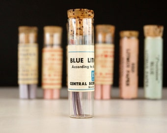 Vintage Glass Vial of Litmus Paper, Blue Paper, Ivory Label (c.1940s) - Science Collectible, Curio Cabinet Decor, Art, Science Oddity